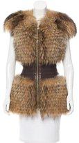 Herve Leger Zimena Fur Vest w/ Tags