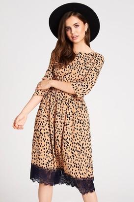 Girls On Film Narcissa Dalmatian-Print Lace Hem Midi Dress