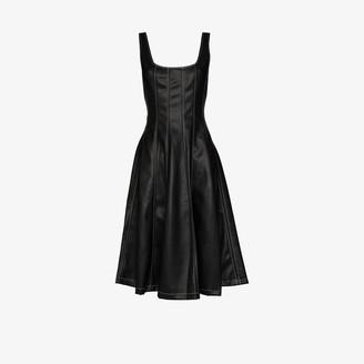 STAUD Scoop Neck Faux Leather Midi Dress