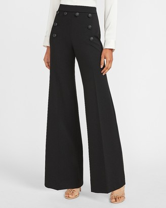 Express High Waisted Novelty Sailor Button Wide Leg Pant