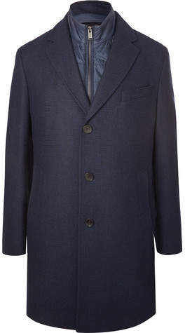 HUGO BOSS Nardim Checked Wool-blend Coat With Detachable Gilet - Navy