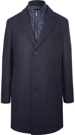 HUGO BOSS Nardim Checked Wool-blend Coat With Detachable Gilet