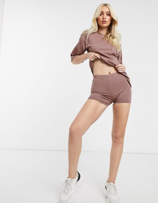 Asos Design DESIGN co-ord shorter length legging short-Brown