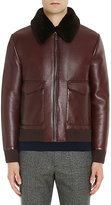 Prada Men's Shearling-Collar Leather Bomber Jacket