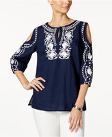 Charter Club Cotton Floral-Embroidered Cold-Shoulder Tunic, Only at Macy's