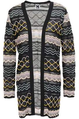 M Missoni Embroidered Crochet-knit Cotton-blend Cardigan