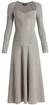 Alexander McQueen Sweetheart Neck Long Sleeved Wool Blend Dress - Womens - Silver
