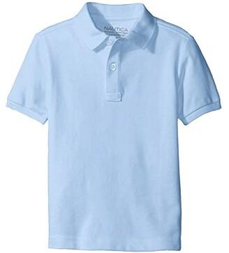 Nautica Short Sleeve Pique Polo (Big Kids) (Light Blue) Boy's Short Sleeve Pullover
