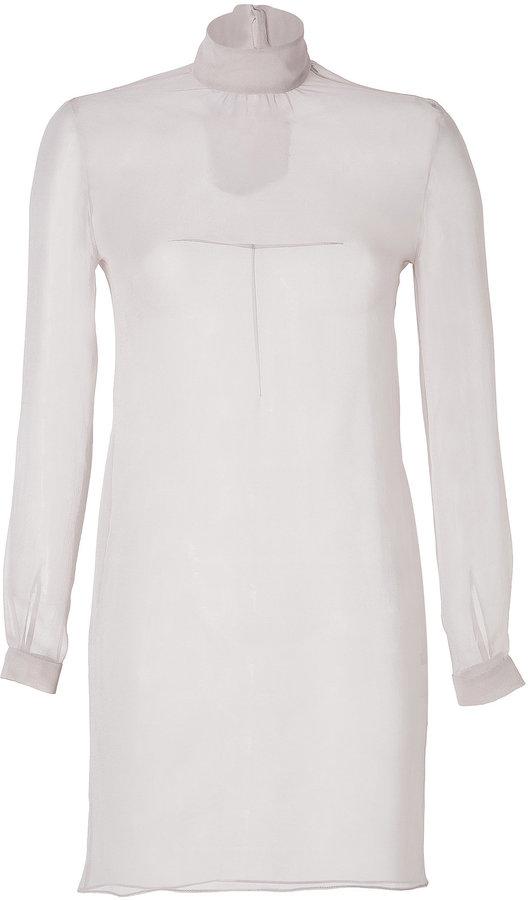 Marios Schwab Silk Georgette Tunic Top in Dove Grey