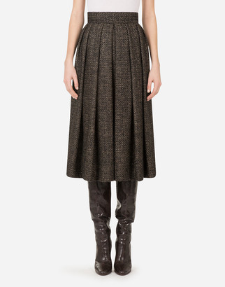Dolce & Gabbana Pleated Mini Skirt In Micro Tweed
