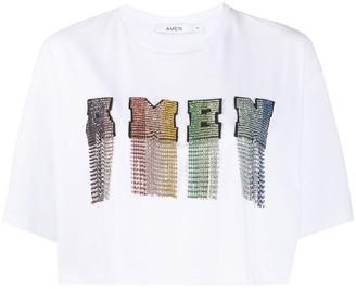 Amen cropped rhinestone logo T-shirt