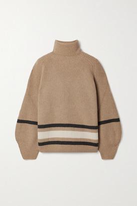 Loro Piana Oversized Striped Cashmere Turtleneck Sweater - Camel