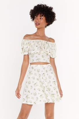Nasty Gal Womens Go with the Flo-ral Off-the-Shoulder Crop Top - yellow - 14