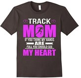 Women's Track Moms Full Heart Mothers Day T-Shirt Large