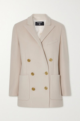 Balmain Double-breasted Wool And Cashmere-blend Blazer - Beige