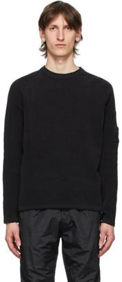 C.P. Company Black Chenille Lens Crewneck Sweater