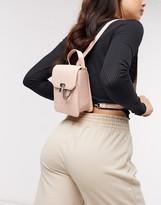 Asos Design DESIGN mini backpack with padlock detail in blush