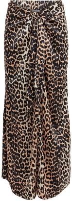 Ganni Knotted Leopard Print Silk Skirt