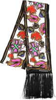 DSQUARED2 Fringed Printed Silk Scarf