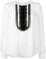 Chloé contrast bib blouse - women - Silk/Cotton/Polyester - 36