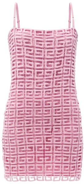 Thumbnail for your product : Givenchy 4g Wool-blend Guipure-lace Mini Shift Dress - Pink