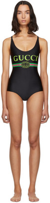 Gucci Black Vintage Logo Sparkling One-Piece Swimsuit
