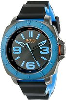 HUGO BOSS BOSS Orange Men's 1513108 Sao Paulo Gunmetal-Tone Watch with Black Silicone Band