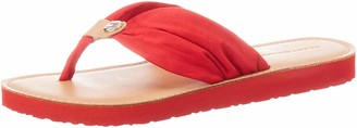 Tommy Hilfiger Women's Leather Footbed Beach Flip Flop (Primary Red XLG) 7.5 UK