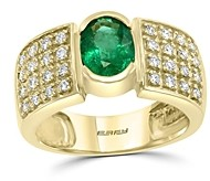 Bloomingdale's Emerald & Diamond Statement Ring in 14K Yellow Gold - 100% Exclusive