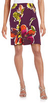 Trina Turk Floral-Print Pleated Flared Skirt