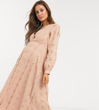 ASOS DESIGN Maternity broderie button through midi tea dress in mink