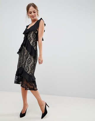 Liquorish midi dress with lace and ruffles-Black