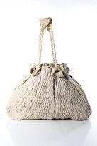 Donna Karan Beige Textured Leather Large Hobo Handbag