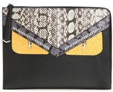 Fendi Monster Snakeskin And Crocodile Leather Clutch