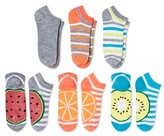 Xhilaration Women's 6-pk Low-Cut Socks Lurex Fruits Gray One Size