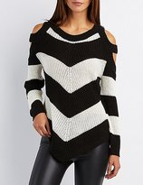 Charlotte Russe Chevron Cold Shoulder Sweater