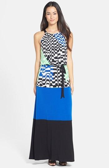 Maggy London Colorblock Print Matte Jersey Maxi Dress