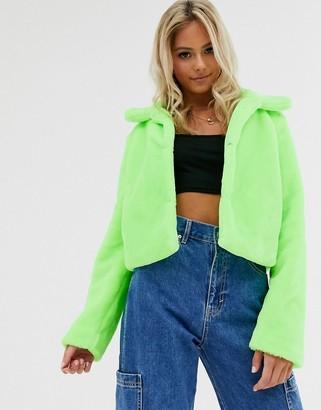 Brave Soul rome neon cropped faux fur jacket-Green