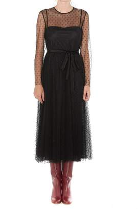 RED Valentino Sheer Pleated Bow Detail Midi Dress