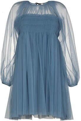 Molly Goddard Octavia smocked tulle mini dress