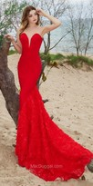 Mac Duggal Plunging Sweetheart Rosette Applique Evening Gown