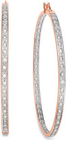 "Townsend Victoria 18k Rose Gold over Sterling Silver Earrings, 2-1/5"" Diamond Accent Hoop Earrings"