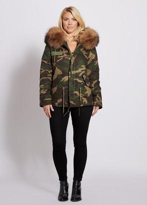 Popski London Camouflage Parka Jacket With Raccoon Fur Collar Natural