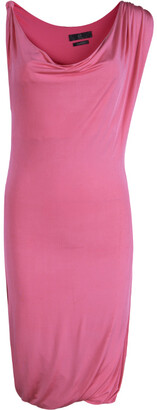 McQ Pink Knit Draped Sleeveless Dress XS