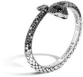 John Hardy Classic Chain Cobra Sterling Silver Lava Kick Cuff with Black Chalcedony, White Sapphire, Black Sapphire and Diamond on Eyes