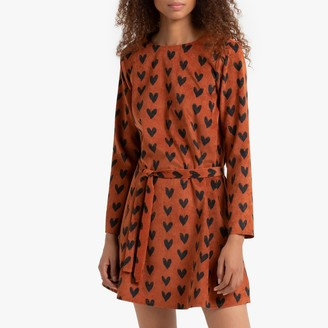Compania Fantastica Short Heart Print Dress with Tie-Waist and Long Sleeves