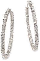 Roberto Coin Diamond and 18K White Gold Hoop Earrings 1.4in.