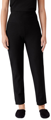 Eileen Fisher Washable Stretch Crepe High-Waist Slim Ankle Pants