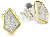 "Kara Ross Pyramid"" White Sapphire Tiny Stud Earrings"
