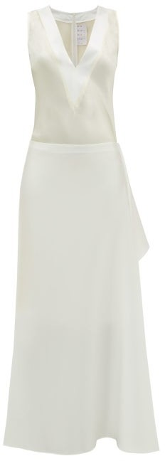 ALBUS LUMEN Hermosa Draped Cotton-blend Satin Dress - White
